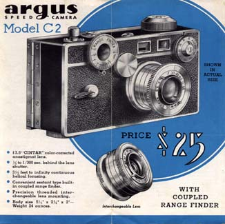 argus c, c2 vintage film camera, the brick 1938