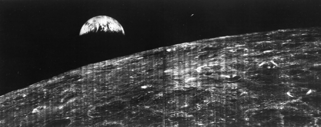 first spacecraft photo of earth from moon vicinity lunar orbiter I 1966