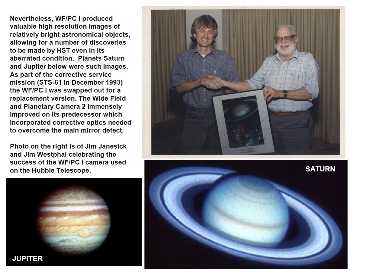 Janesick:  Jamesw Janesick and Jim Westphal after success of Hubble WF/PC I