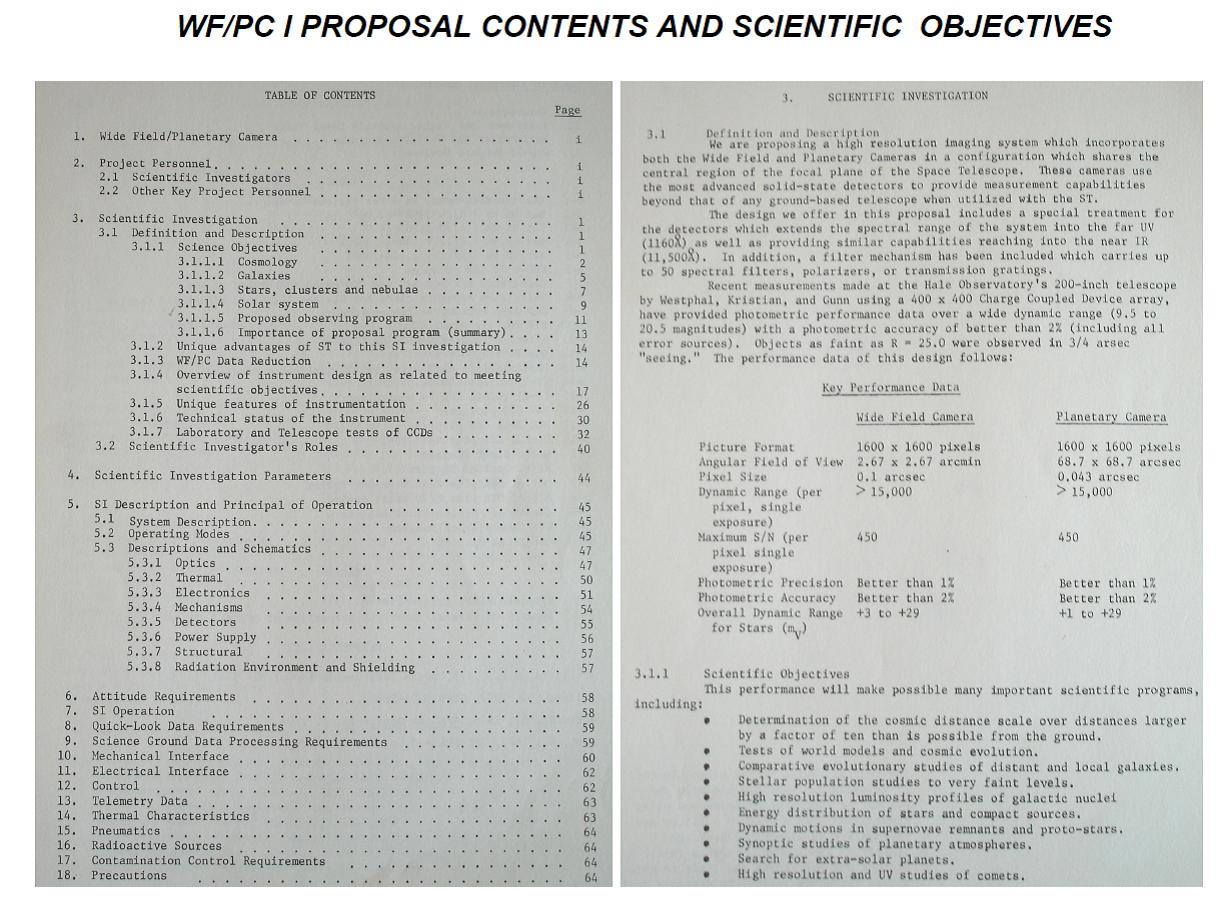 Janesick: wide Field / Planetgary Camer I proposal contents