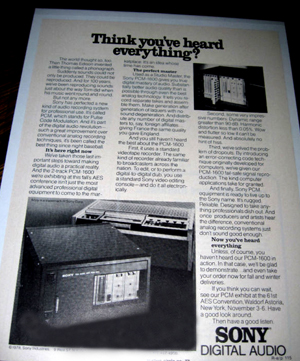first digital recolrdingtape sony corporatin pcm-1600 digital audio processor 1979